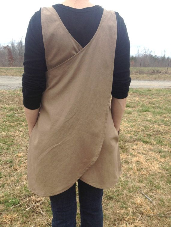 Womens Taupe Crossback Apron / Pinafore/ Cotton Linen/ Blend / Cross Back…