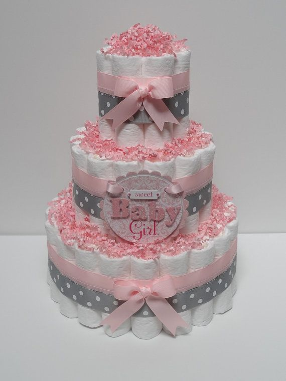 Baby Girl Pink And Gray Diaper Cake Baby Shower Centerpiece