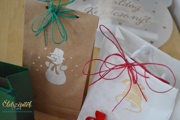Kreatív ajándékcsomagolás: karácsonyi stencilekkel mintázott csomagolóanyagok