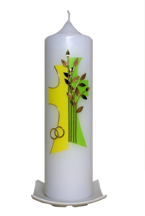 Hochzeitskerze Kreuz mit Lebensbaum (gelb/maigrün)