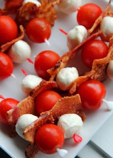 Red, white & bacon appetizers!. Super simple! So pretty :)