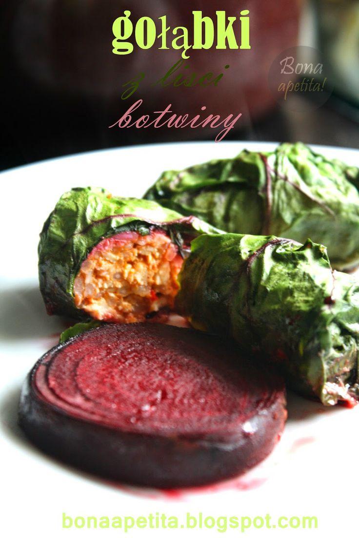 """Bona Apetita! blog kulinarny, wnętrza, żyj ze smakiem!: Gołąbki """"zadziorne"""" - drobiowe w liściach botwiny"""