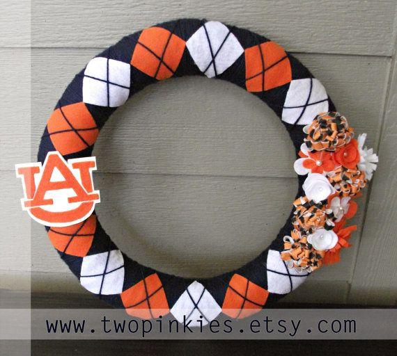 "Auburn University Wreath - Yarn Wreath, 18"""