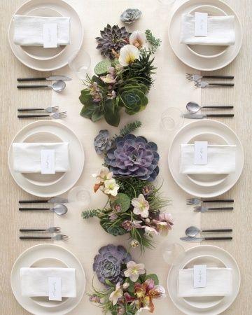 succulents and linen // centerpieces