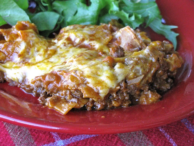 Enchilada Casserole - {pretty good/easy.  Not a huge dish full. Good way to use corn tortillas that are a little too dry to roll up.}