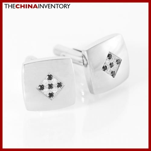MEN`S STAINLESS STEEL SQUARE CZ CUFFLINKS C1512A