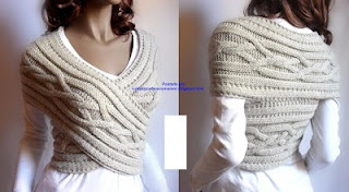 Beautiful bolero! (get a thick, wide, Moebius Strip scarf and wear at least a nice tank underneath)