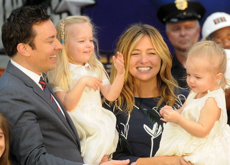 Jimmy Fallon  his wife Nancy Juvonen and daugthers Winnie and Frances