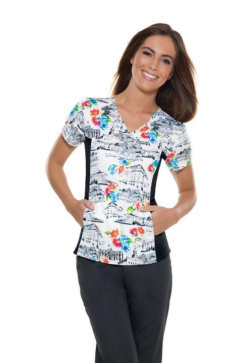 """Roman Holiday"" Women's V-Neck Knit Panel Top | #nurse #fashion | #printscrubs | #cherokee | #nursescrubs"