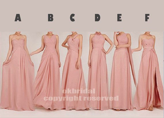 Peach Bridesmaid Dress, Long Bridesmaid Dress, Formal