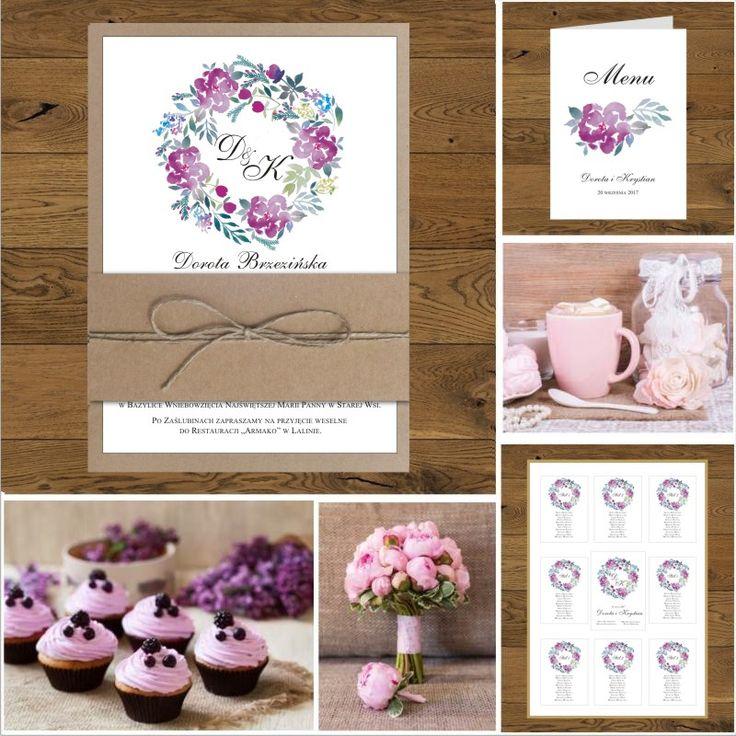 Zaproszenia eko z fioletowymi kwiatami