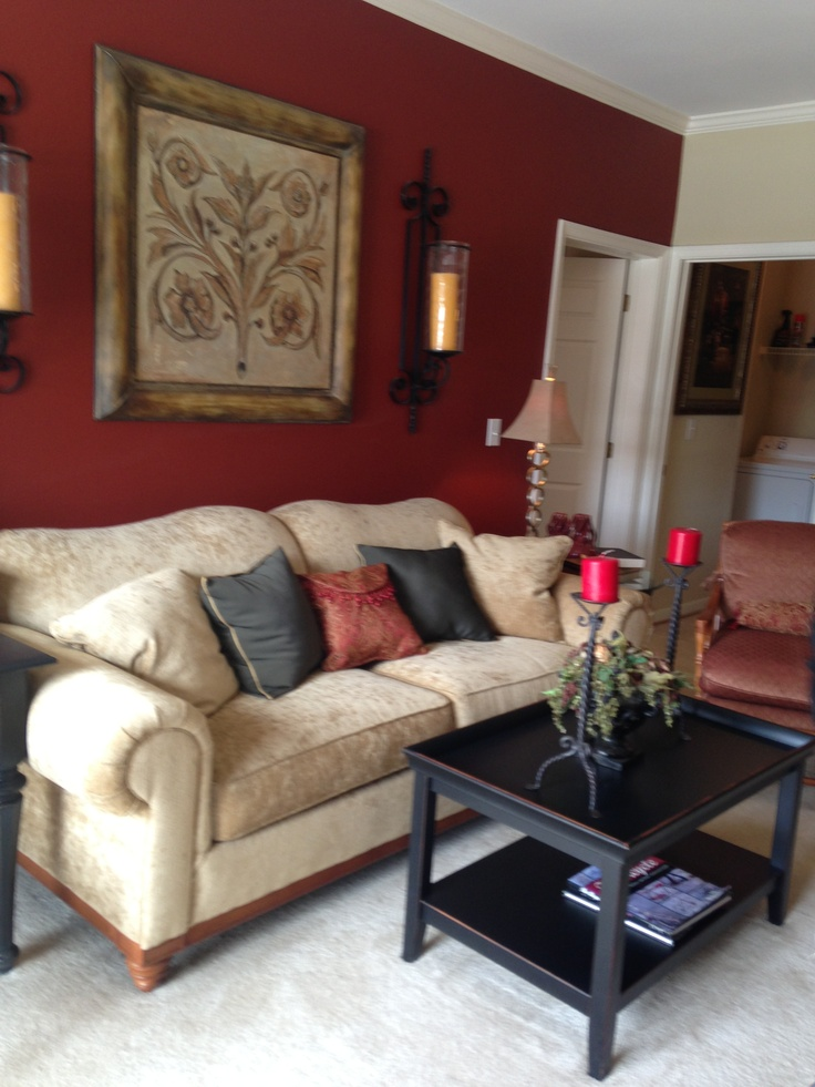 Deep Red Accent Wall And Then Doing A Beige Color Gold Accents And Black Furniture Living