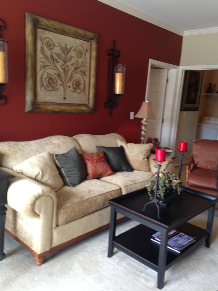 Red Black Beige Living Room