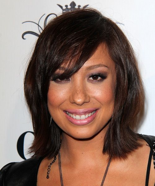 Cheryl Burke Hairstyle - Medium Straight Casual - Dark Brunette. Click on the image to try on this hairstyle and view styling steps!