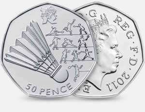 Great Britain's Olympic 50p coin for badminton.