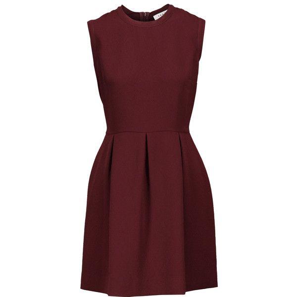 Sandro - Cloqué Pleated Mini Dress ($113) ❤ liked on Polyvore featuring dresses, burgundy, red dress, pleated dress, burgundy dress, short lace dress and pleated mini dress