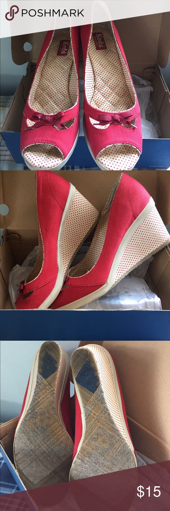 Red wedge shoes Cute red canvas wedges- w/ poka dots on the wedge heels. Worn once or twice?!?! Keds Shoes Wedges