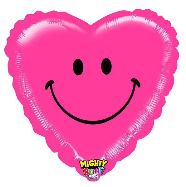 Balão metalizado coração pink smile 21 para gás Hélio 14328 - Estilo e festas - Acessórios para Festas   Artigos para festas