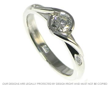 Platinum and diamond engagement ring, flat setting.