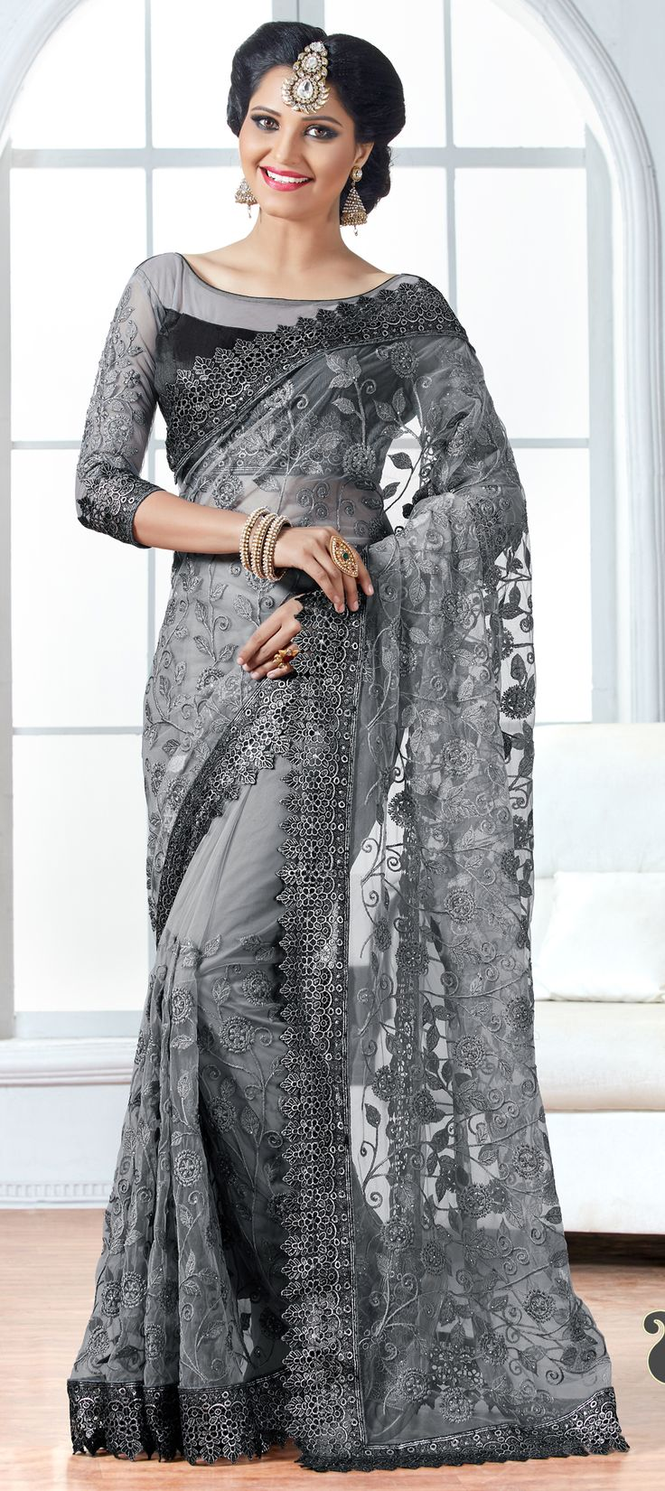 722203: Black and Grey color family Embroidered Sarees, Party Wear Sarees with matching unstitched blouse.