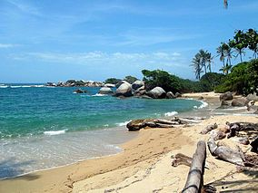 Tayrona National Park in Colombia... 2.5 hours of hiking through ankle deep mud to arrive at this. Highlight of the trip.