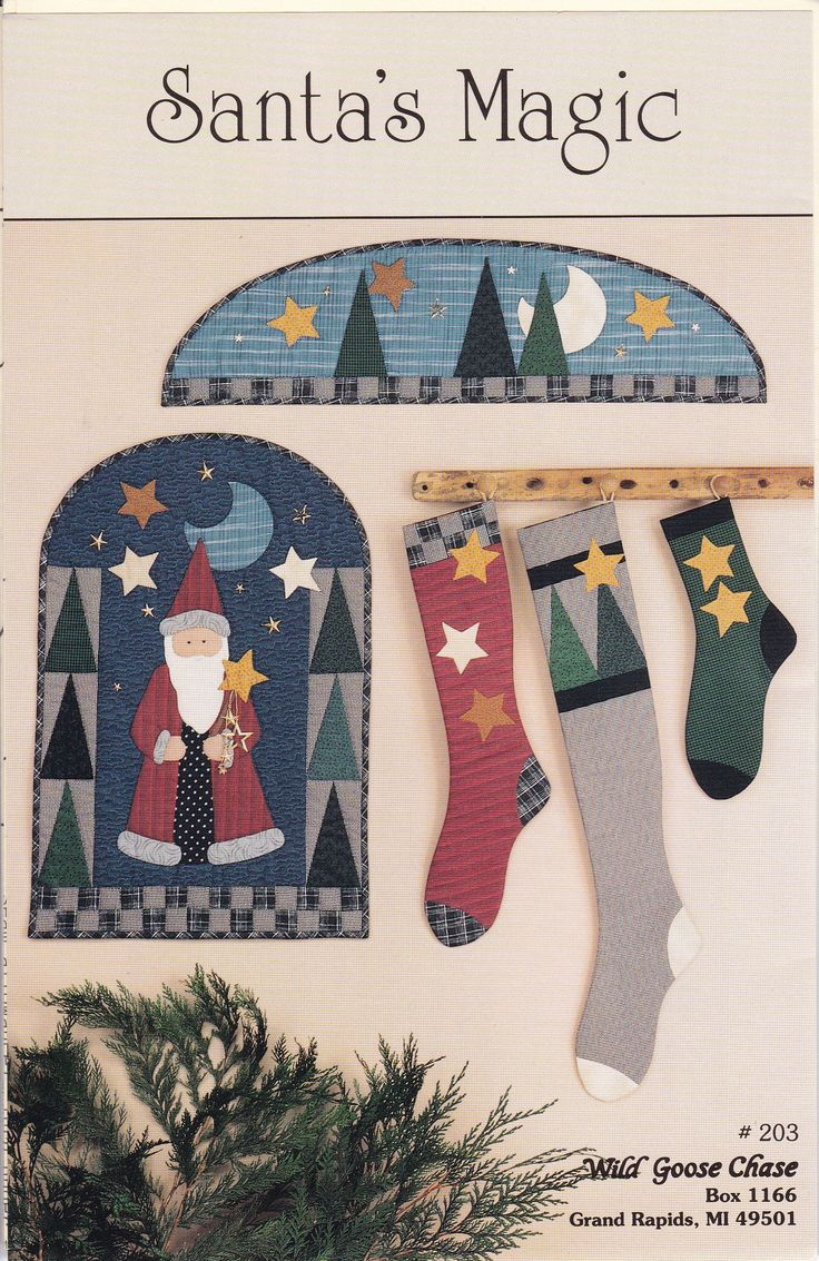 191 best christmas patterns vintage retro new images on pinterest free us ship craft sewing pattern christmas wild goose chase santas magic primitive arch door quilt jeuxipadfo Gallery