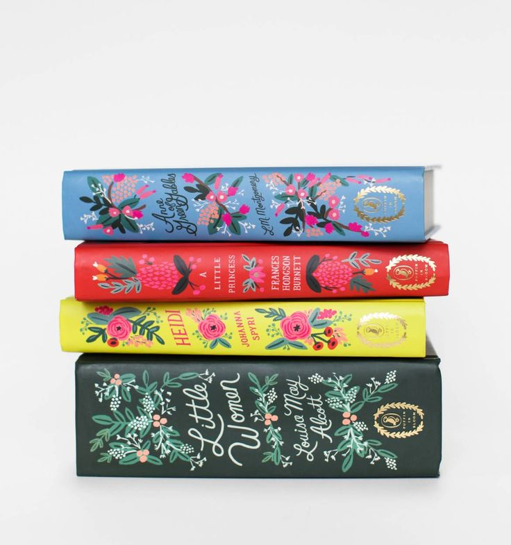 In Bloom Book Collection Set of 4 Classic Books - floral illustrations and gold leaf lettering.
