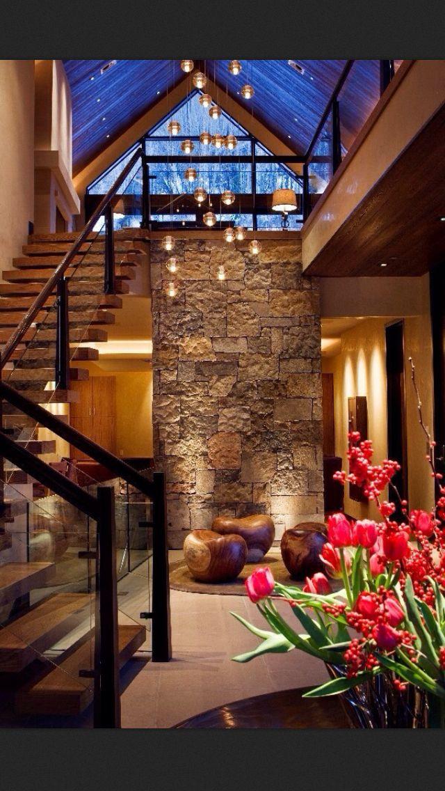 Entrance, Interior Desing, Stone Walls