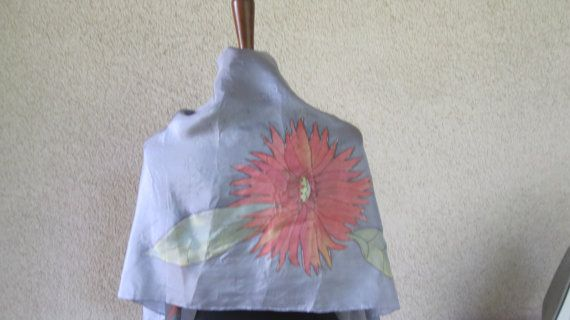 scarf or shawl in silk  pure gray handpainted by ventodiscirocco, $83.00