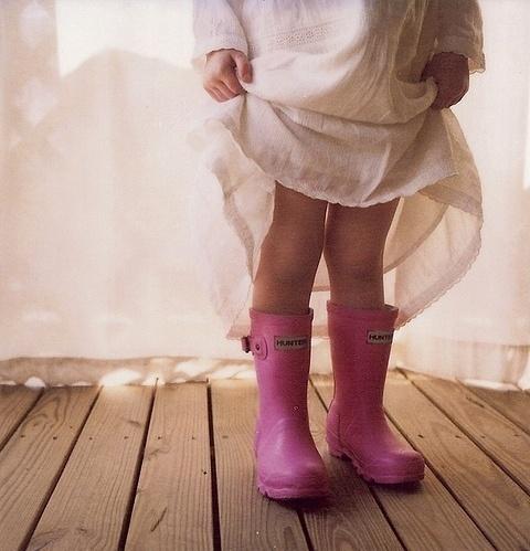 Pink baby rain boots