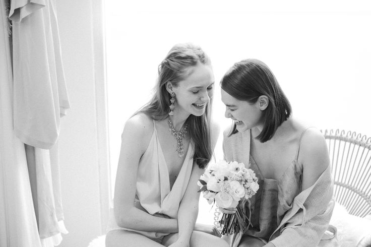 YOUR BRIDESMAID: dresses and robe by Miss Crabb, hair by Stephen Marr, skin and make up by Lucy and The Powder Room, flowers by Annie O.