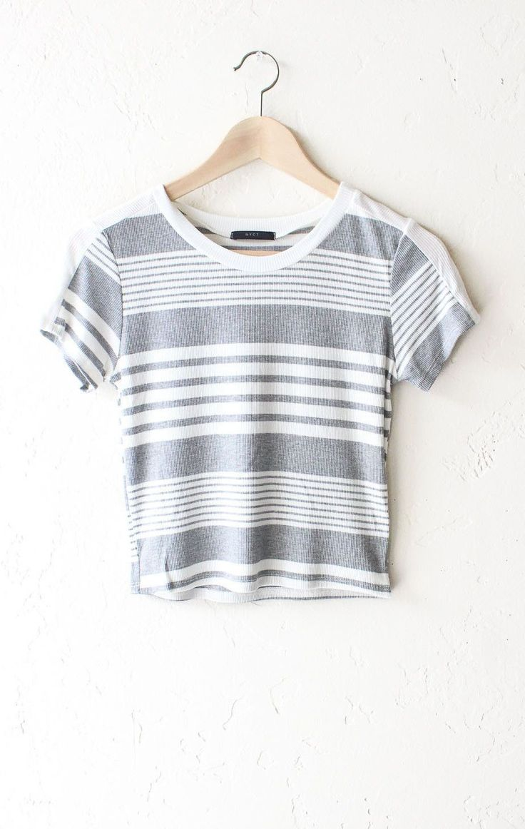 """- Description Details: Striped ribbed crop top grey/white. Form fitting, tend to run on the smaller side & are more fitted. Measurements (Size Guide): S: 30"""" bust, 16.5"""" length M: 32"""" bust, 17.0"""" leng"""