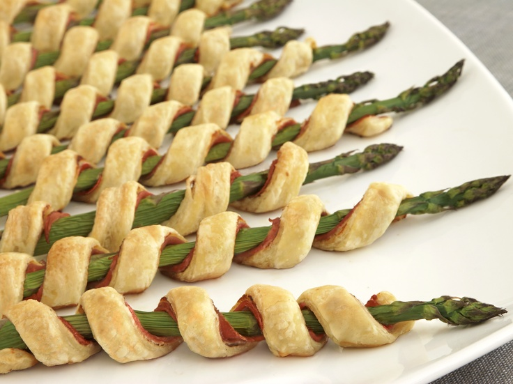 Prosciutto wrapped asparagus spears Garlic herb & cheese, flaky puff pastry YUM!!!!!