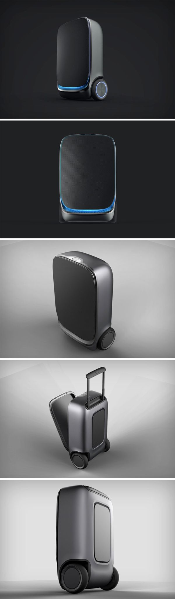 The world's first self-balancing and auto-follow luggage bag.