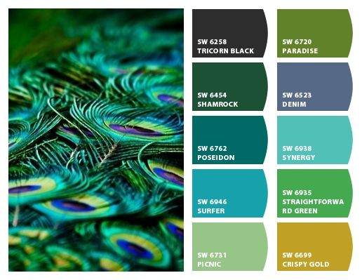 PEACOCK FEATHERS Paint colors from Chip It! by Sherwin-Williams. More Egyptian color and Peacock pins at https://www.pinterest.com/yrauntruth/home-egyptian/ and https://www.pinterest.com/yrauntruth/home-peacock-room-its-colors/