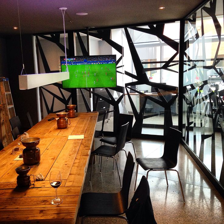The king of all conference rooms! Featuring 9' tall laser cut steel panels all the way around!