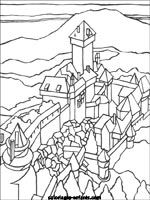 coloriage (coloring page) of the chateau Haut-Koenigsbourg in Alsace