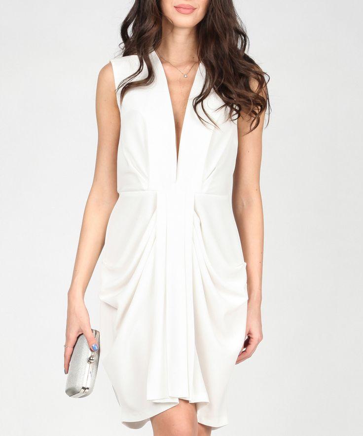 POESSE White plunge neck bodycon dress, Designer Sale, Trend Alert: White Heat at SECRETSALES.com