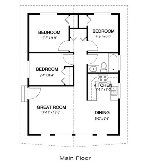 Yes you can have a 3 bedroom tiny house 768 sq ft one for for Small house floor plans with garage