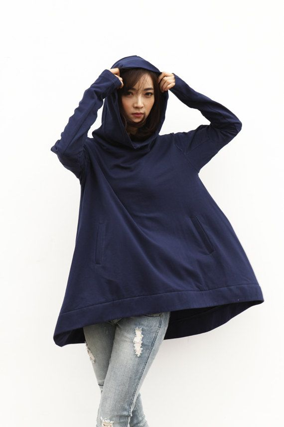 Lagenlook Hoodie Cape Style Top Fashionable by Sophiaclothing