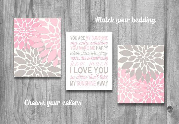Grey Girl Wall Decor : You are my sunshine pink gray nursery wall art girl
