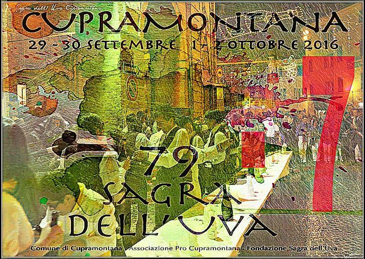 7 giorni ci separano dall'inizio della 79^ Sagra dell'Uva di Cupramontana. La Sagra dell'Uva è divertimento è voglia di incontrarsi, di bere, di ballare fino a tardi, è tradizione, è creatività, è musica, spettacolo e buona cucina. Le nostre buone tradizioni delle Marche presenti alla inaugurazione della 79° Sagra dell'Uva di Cupramontana. Brindisi e maritozzi gratis per tutti. Programma: http://www.sagradelluva.com/