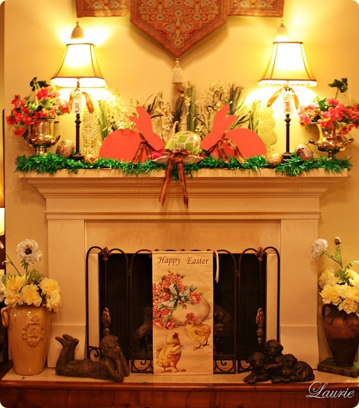 Laurie's Easter Mantel...beautiful!!