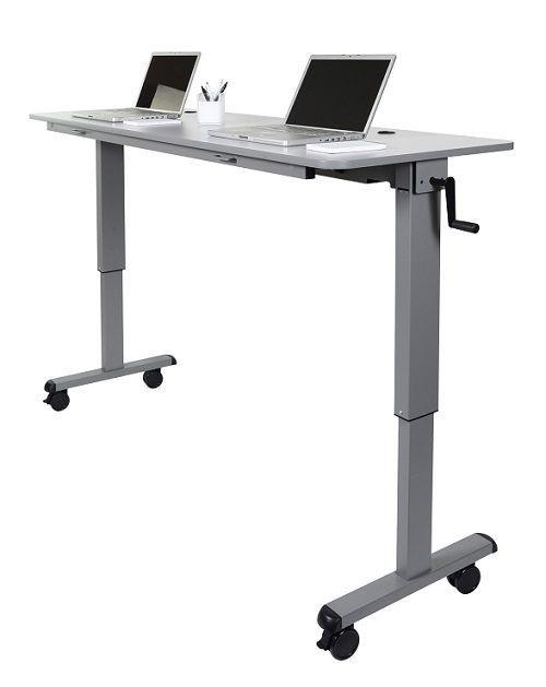 Adjule Crank Desk Workstation With Flip Top Stand Up Computer On Wheels
