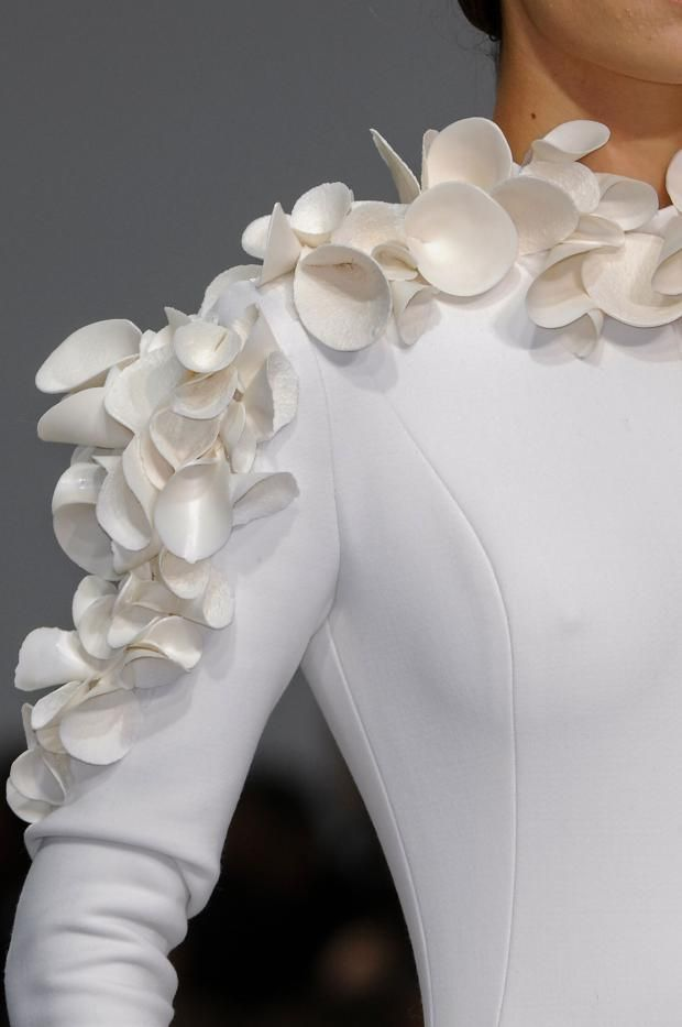 Sculptural surface detail - white on white fashion with 3D textures; organic influences; wearable art // Stephane Rolland