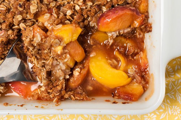 Easy Peach Crisp. Great way to use some over ripe peaches! Scoop of vanilla ice cream...done!