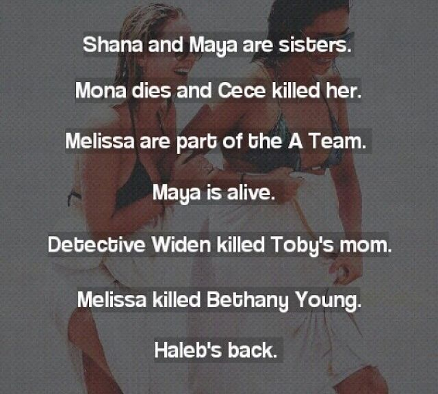 PLL spoilers. don't know if theyre true. I know Haleb is back forsure!