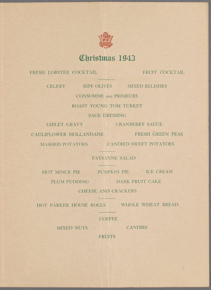 29 best Christmas dinner menus images on Pinterest Military - dinner menu