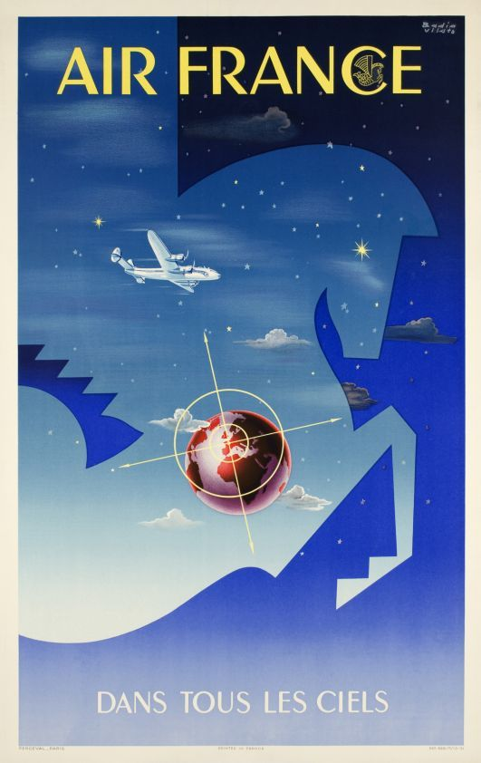 1951 Air France vintage travel poster