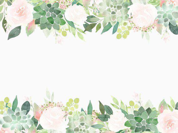 succulents clipart frames  succulent border  roses frame
